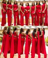 vestidos de las damas de honor del hombro del coral al por mayor-2019 vestidos de dama de honor de sirena roja barata árabe un hombro lado partido longitud de piso vestido de invitado de boda largo Formal vestidos de dama de honor
