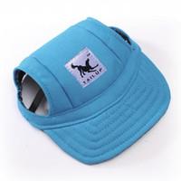 ingrosso cappelli di cane estivo-Animali Cappelli per cani Cappello di tela Berretto da baseball sportivo con fori per orecchie Cappelli per visiera per cani piccoli di grandi dimensioni