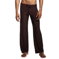 sexy lange unterwäsche großhandel-Mens Mid Rise Jogginghose Sport Pyjama Männer Yogahosen Hosen Lounge Ice Silk Männer sexy lange Unterwäsche lange Schlaf Bottoms