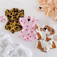 Wholesale french terry jumpsuit resale online - INS Newest Summer Toddler Baby Girls Leopard Love Rompers Cotton Blends Ruffles Sleeveless Turn down Collar Front Button Newborn Jumpsuits