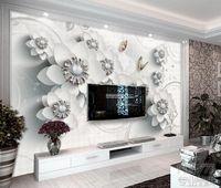 kulisse chinesisch großhandel-Benutzerdefinierte 3D Wandbilder Tapete Wandmalerei Stereoscopic Chinese exquisite dreidimensionale Schmuck f 3D Wohnzimmer TV Hintergrund Wandbild