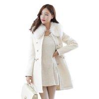 casacos de mulheres de moda de inverno coreano venda por atacado-Novo Estilo Coreano Moda Feminina Casaco de Inverno Colares Destacáveis Médio longo Puro cor Pano Casaco Elegante Mulheres Casaco Quente NUW05