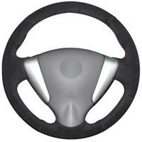 ingrosso coperture di volante in pelle scamosciata nera-Coprivolante in pelle scamosciata nera per Nissan Tiida Sylphy Sentra Versa Nota 2014-2017