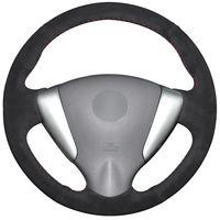 чехлы на рулевое колесо nissan оптовых-Черная замша Обложка руля для Nissan Tiida Sylphy Sentra Versa Note 2014-2017