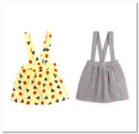 Wholesale wearing suspender skirt for sale - Group buy INS Girls skirt preppy style kids plaid pleated suspender skirts children polka dots triangle printed out wear princess skirts F7684