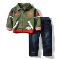 ropa militar para niños al por mayor-Militar Chándal bebés niños niñas ropa conjunto niños invierno 2018 marca sudadera Jeans niños niños traje traje de los niños