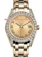 18k altın kadınları izliyor toptan satış-12 Stil Topselling Yüksek Kalite 31mm 36mm Pearlmaster Datejust 81298 Elmas Çerçeve 18 k Sarı Altın Otomatik Bayanlar İzle kadın Saatler
