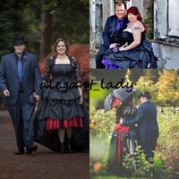 jaqueta de renda preta vestidos de casamento venda por atacado-Alta baixo gótico preto vestidos de casamento com jaqueta de renda Vintage Plus Size alternativa Steampunk Goth espartilho país vestido de noiva