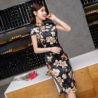 chinesisches kragenkleid schwarz großhandel-Schwarz Druck Frauen Sexy Vintage Kurze Druck Cheongsam Neuheit Chinesischen Stil Stehkragen Kleid Damen Dünne Qipao S-XXXL