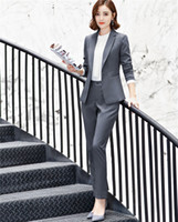 ingrosso cappotto blu peplum-Fashion Uniform Designs Pantsuits With Jackets And Pants For Office Ladies Blazers Pants Suits Women Trousers Sets 6017