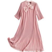 rosa chiffon drapiert großhandel-2019 Sommer Kawaii Rosa Süßes Mädchen Kleid Chiffon Organza Anti-Aging A-Linie Bowknot Kurzarm Drapierte Frau Minikleid