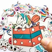 Wholesale jdm decals rear window resale online - 50Pcs Pink Cute Unicorn Rainbow Fun Cartoon Jdm Doodle Decals Luggage Laptop Car Styling Bike DIY Waterproof Stickers Christmas Kids Gift