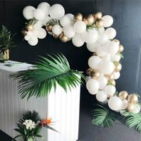 doğum günü balonları beyaz toptan satış-133 Adet Altın Ve Beyaz Balon Kemer Zinciri Düğün Balonlar Arch Garland Dekorasyon Kiti Doğum Günü Partisi Dekorasyon arco de globos