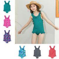 Wholesale baby girl animal print bikini resale online - Children Rainbow Dot Print Swimwear Baby Girls Animal Swimsuit Fashion Bikini Kids Cartoon Ruffle Beachwear TTA689