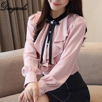 nuevos estilos de blusa coreana al por mayor-Dingaozlz Nueva Moda OL Tops Elegante Manga Larga Pajarita Volantes Blusa de Gasa Estilo coreano Camisa de Mujer Blusa