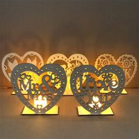 Wholesale rustic decorations resale online - MR MRS Board Rustic Wedding Decorations DIY Creative Ornament Heart Shaped Woodiness LED Candle Light Party Articles jm p1