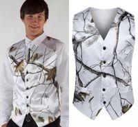ingrosso immagini marrone della maglia-2019 Fashion White Camo Groom Gilet + Cravatte per matrimonio Tuta sportiva Vest Realtree Primavera Camouflage Slim Fit Gilet uomo (Gilet + Tie) Custom Made