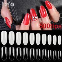 Wholesale oval full cover false nails resale online - Florvida Full Cover False Nail Tips Long Oval Nails Finger Tips Beauty Fake Nails Natural Clear Style False Nail