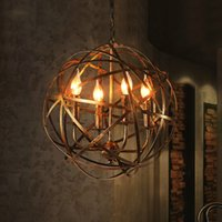 Wholesale 15 ball chain resale online - American retro industrial wind cafe iron ball E14 bulb chandeliers Europeab loft creative home deco living room chandeliers
