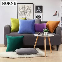 Wholesale norne resale online - NORNE Fashion Modern Solid Luxurious Yellow Blue Green Red PillowCase Super Soft Velvet Pillow Case without pillow interior
