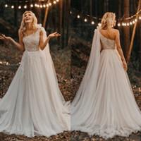 Wholesale royal cape dress resale online - Bohemian One Shoulder Wedding Dress with Cape Pearls Lace Tulle Fancy Boho Bridal Gowns A Line Spring Custom Size Plus