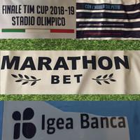 italienische tasse großhandel-2019 Italienischer Pokal Finale Wettbewerb Druck Sponsorenlogos Lazio passt zu gedruckten Aufklebern TIM CUP FINAL Plastikpatch beeindruckt Ärmelabzeichen