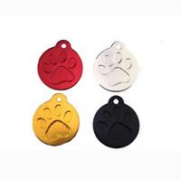 etiquetas de nome redondas venda por atacado-2019 Animal de Estimação Pé Cartão de Identidade Pegada Dog Tag Rodada Pata Tag de Cão Personalizado Pet Tag Anti-perdido Pet Acessórios Dog Name Tags