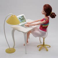 Wholesale children computer toys for sale - Group buy New Fashion Children Plastic Toy Table Chair Table lamp Computer Pieces Set Doll Accessories