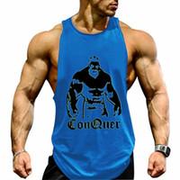жилеты для фитнеса оптовых-Sports Fitness men sleeveless cross-fitting shirt cotton back cardiac muscle jacket sleeveless professional bodybuilding vest