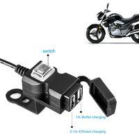 prise de moto achat en gros de-Dual USB Port 12V Etanche Moto Moto Guidon Chargeur 5V 1A / 2.1A Adaptateur Alimentation Prise Pour Téléphone Mobile