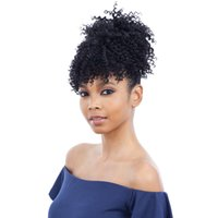 Wholesale afro kinky ponytail online - Graceful African American Black High Puff Ponytail with Clips High Wrap Updo Hairpieces Kinky Curly Afro Bun for Black Women g