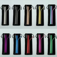 palhas para smoothies venda por atacado-Palha de Aço Inoxidável reutilizável Set Straight Bent Palito Escova de Limpeza 5 PCS Canudos De Metal Beber Conjunto