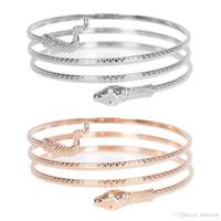 armband ring gold farbe großhandel-Punk Fashion Coiled Snake Spiral Oberarm Manschette Armbinde Armreif Armreif Für Frauen Schmuck Gold Silber Farbe