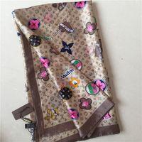 grandes enveloppes de soie achat en gros de-marque à la mode impression grande cape grande cape de dame mince lumière douce marque foulard en soie