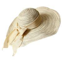 grandes sombreros de paja plegados al por mayor-Venta caliente 2017 Moda de Verano Sombrero de Paja Sombrero de Las Mujeres de Las Señoras 'Fold Ancho Grande Cinta de lazo de la pajarita Sombrero de playa femenina Casual Sol