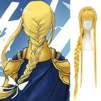 perücke alice großhandel-Details zu Schwert Art Online SAO Alicization Alice Cosplay Perücke Goldgelb Geflochtene Perücken