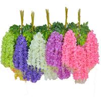 décorations de lierre achat en gros de-Fleurs de lierre artificielles fleur en soie Wisteria fleur de vigne rotin pour le mariage décorations de maîtresses Bouquet guirlande maison ornement110cm / 75cm