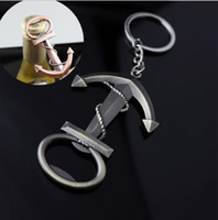 Wholesale zinc boat resale online - Vintga Boat Anchor opener keychain Zinc Alloy beverage opener keyring Multi functional Beer Bottle Opener