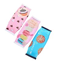 cajas de galletas al por mayor-Kawaii Macaron Cookies caja de lápiz de cuero de la PU Bolsa de lápiz de la escuela para los suministros de papelería chica Estojo Escuela Escolar