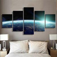 yağlı boya alanı toptan satış-5 Parça Tuval Posterler ve BaskılarOuter Space Earth manzara modern Yağlıboya Tuval Duvar Resimleri Salon Ev Dekorasyon S-76
