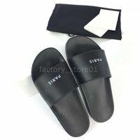 impresión en color de cuero al por mayor-París Diseñador de lujo Para mujer Para mujer Sandalias de verano Zapatillas de playa Zapatillas de lujo para mujer Zapatos casuales Estampado de cuero Color sólido 36-46 Con caja