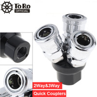 Wholesale pneumatic quick connectors resale online - TORO High Speed Steel Pneumatic Fittings Multi Functional Air Coupler Three Way Air Hose Quick Connectors for Compressors