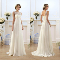 Wholesale little white beach wedding dresses resale online - Lace Chiffon Empire Wedding Dresses Cheap Sheer Neck Capped Sleeve A Line Long Chiffon Wedding Dresses Summer Beach Bridal Gowns CPS212