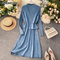 Wholesale turquoise black dress resale online - Autumn Winter Women Elegant Suit Black Blue Turquoise Beading Vest Turtleneck Pleated Bottom Dress pc Female Set