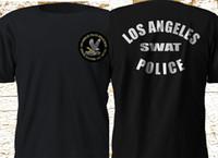 siyah swat toptan satış-2019 Kısa Kollu Pamuk Adam Giyim Yeni Swat Los Angeles Polis Departmanı Siyah Tişört Temel Modeller