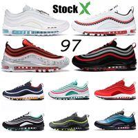 top yastıklı koşu ayakkabıları toptan satış-Nike Air Max 97 Hava Yastığı Yanardöner UNDEFEATED Üçlü beyaz erkek koşu ayakkabı siyah Gümüş Bullet Metalik Altın Güney Plaj Erkek kadın spor Sneakers