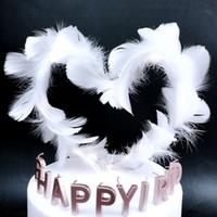 pastel de fiesta de hadas al por mayor-Enchufe de la torta de la pluma romántica cumpleaños fiesta de la boda decoración de la torta de hadas decoración de la torta del enchufe tortas de plumas Adornos