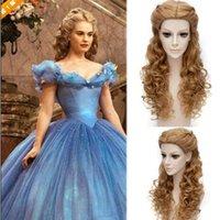 schöne lange haare frauen großhandel-lange blonde Perücke mit ordentlich Pony synthetische lockige synthetische blonde Perücken für Frauen