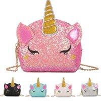 Wholesale Glitter Unicorn Chain Bags Kids Cartoon Crossbody Shoulder Bag Baby Girls Fanny Pack Waist Bags Cute INS Coin Purse Wallet Pouch Colors