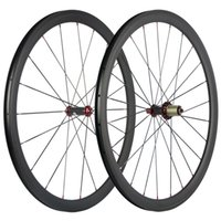 700C Clincher 38mm Carbon Wheelset Road Bicycle UD Matte Carbon Wheels Red R36 Hub Red Nipples